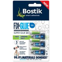 Bostik Super Glue Fix & Glue Gel Mini Tubes 99.9% Materials Bonded 3 x 1g
